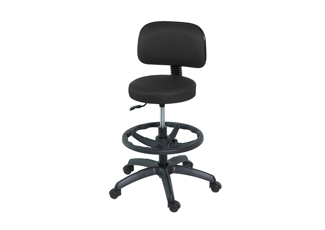 H-161 Stool with Back and Footrest