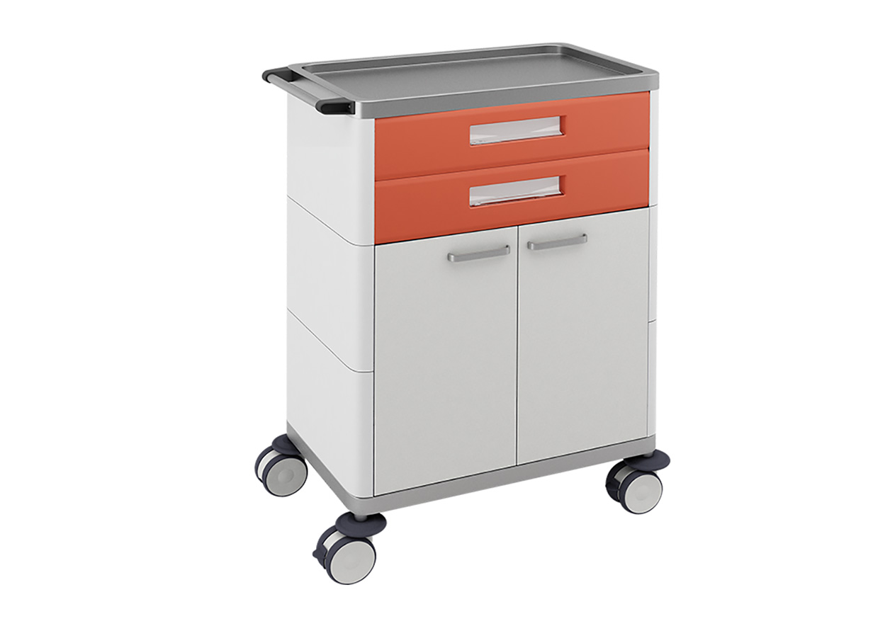 H-732 Multifunctional Trolley with 2 Drawers and Cabinet