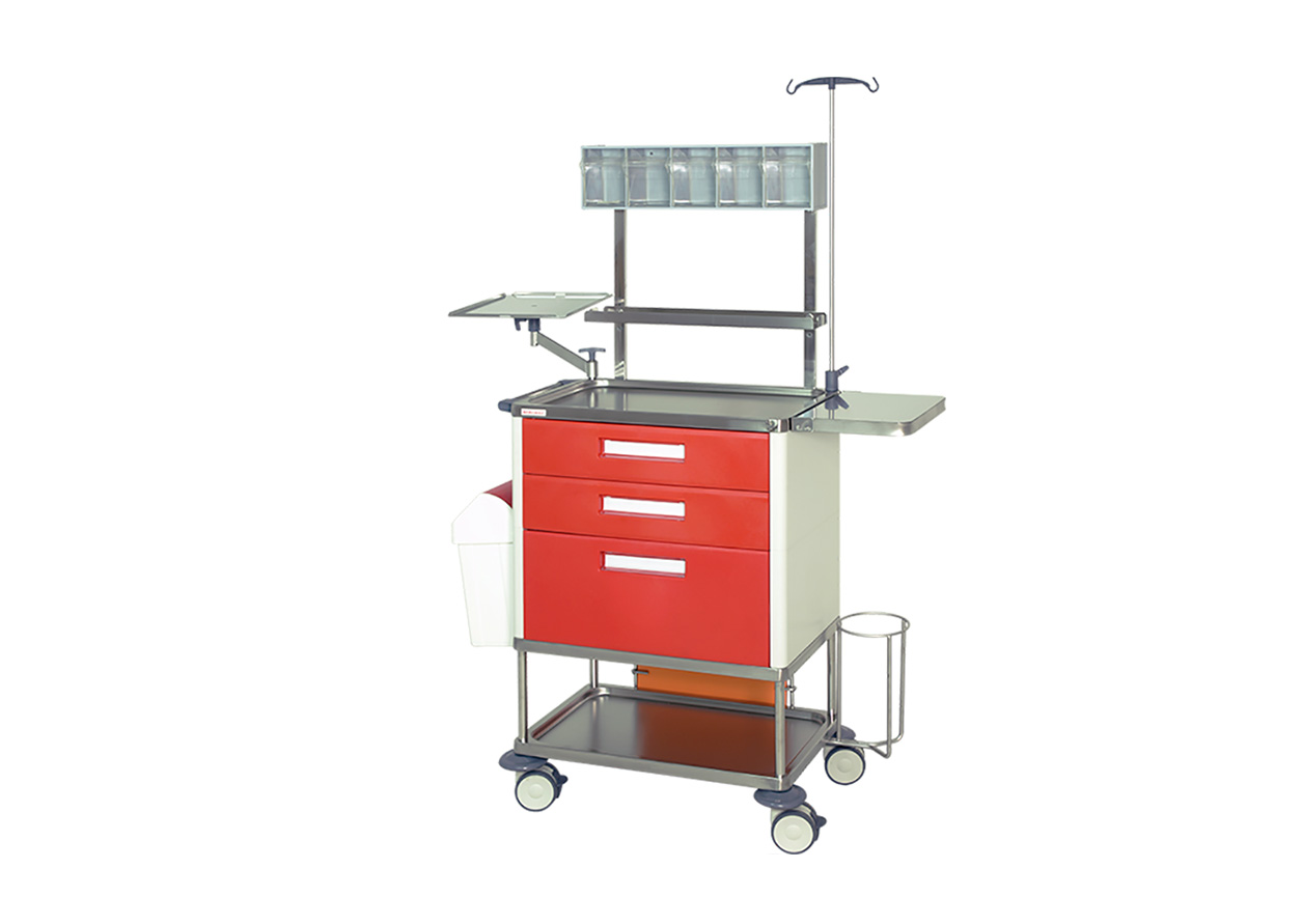 H-773PRP Trolley with 3 drawers (2 medium + 1 big) and 2 shelves