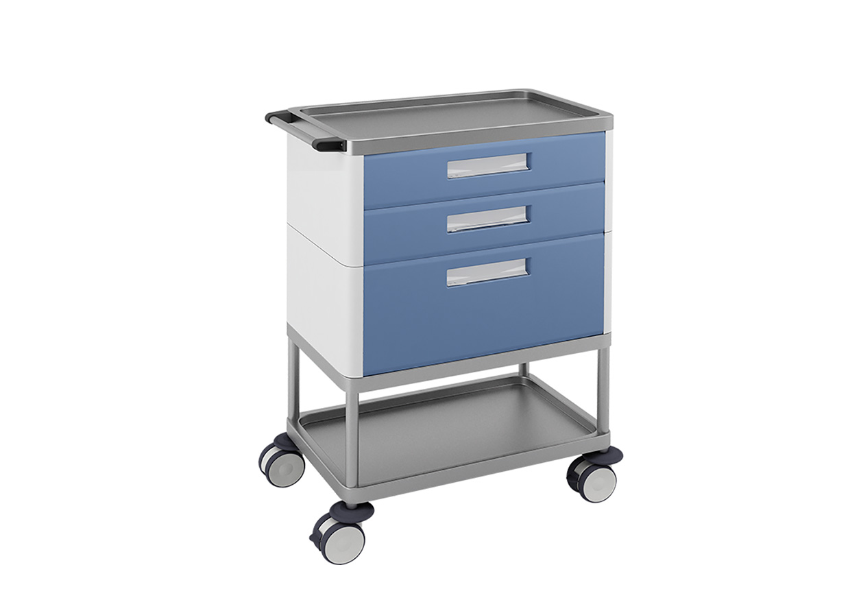 H-773 Trolley with 3 drawers (2 medium + 1 big) and 2 shelves