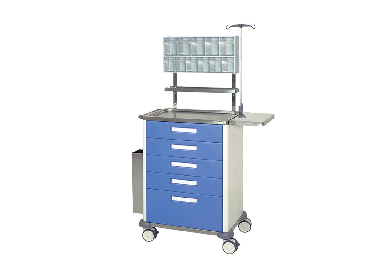 H-775AN carro de anestesia con una gaveta, cuatro cajones y plano de trabajo