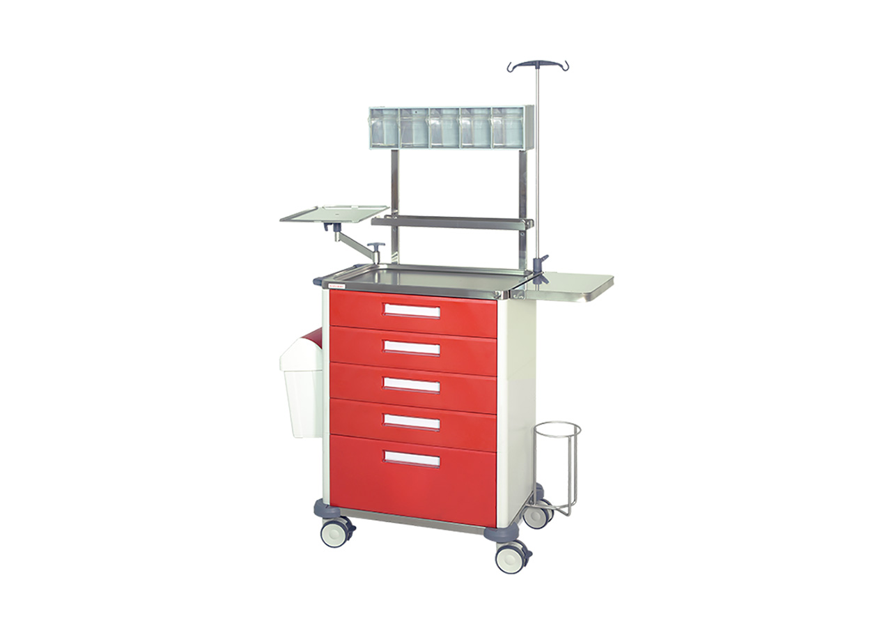 H-755PRP Trolley with 5 drawers (4 medium + 1 big) and 1 shelf